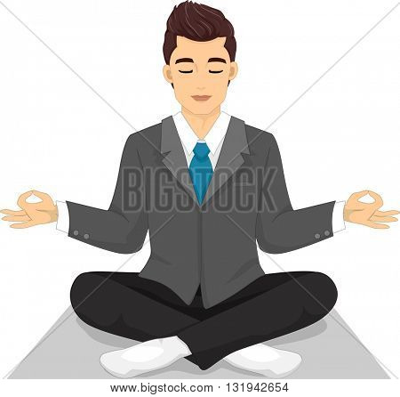 Illustration of a Man in a Suit Assuming a Yoga Pose
