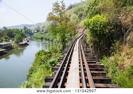 Death railway line built with wood. Tham Kra Sae Kanchanaburi‎ Thailand.