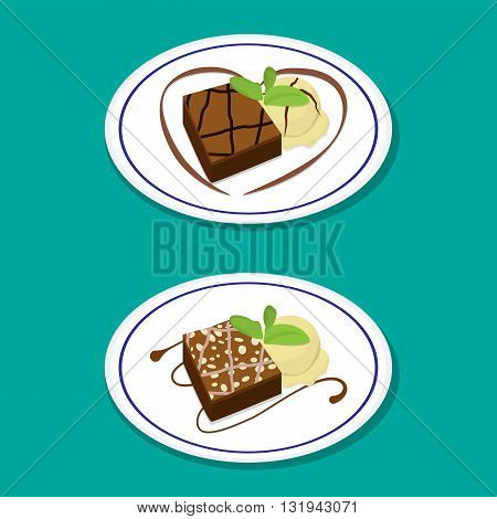 Fudge Brownie on dish with icecream vector food