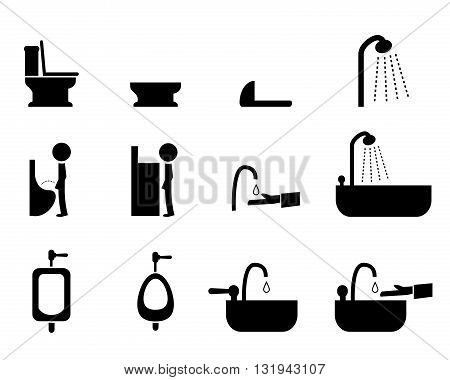 Set of toilet icons in silhouette style vector symbol
