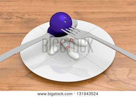 bowling food - bowling ball with pins spoon fork and plate 3d illustration