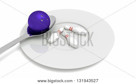 bowling food - bowling ball with pins spoon and plate 3d illustration