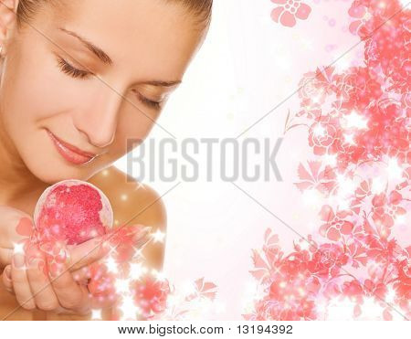 Beautiful girl with aroma bath ball