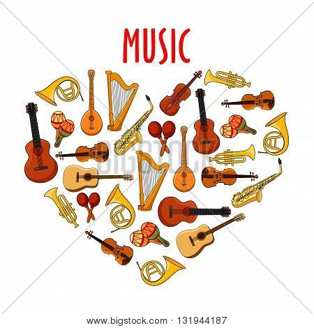 Cartoon musical instruments arranged into heart symbol with acoustic guitars and violins, saxophones and trumpets, horns and harps, maracas and banjo mandolins. Use as love music theme or arts, music and entertainment design