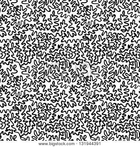 Doodle seamless pattern with curly lines on white background