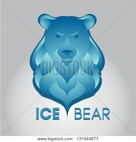 Sign of ice angry bear with gradient waves