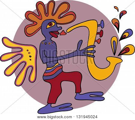 Jazz saxophone player design in traditional native style
