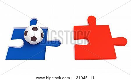 Soccer in France Tricolor puzzle with football 3d illustration