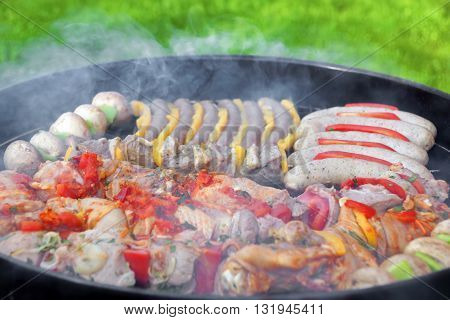Barbecue Charcoal Hot Grill With Different Grilling Meat And Vegetables