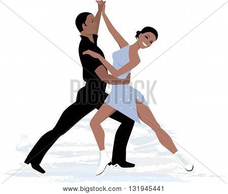 A couple performing an ice dancing routine