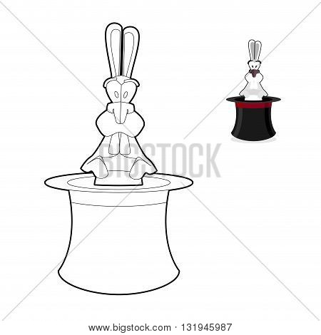 Rabbit In Magician Hat Coloring Book. Focus In Linear Style. Accessory Magician. White Hare In Illus