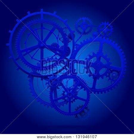 Blue gear wheels of clockwork in blue light. Techno background. Vector Illustration
