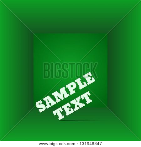 Green Box Top View  The Gift Box Any Empty Room Interior Vector Illustration Eps 10