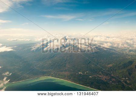 Aerial view of volcano Etna in Sicily
