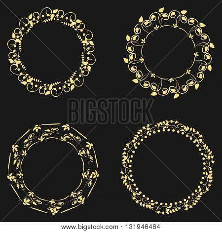 Set beautiful round frame. The ornate curve floral ornament. Four isolated object on a black background. Abstract.