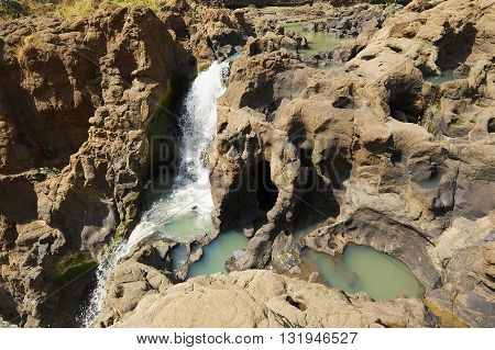 View to the waterfall at the Blue Nile river in dry season in Bahir Dar, Ethiopia.