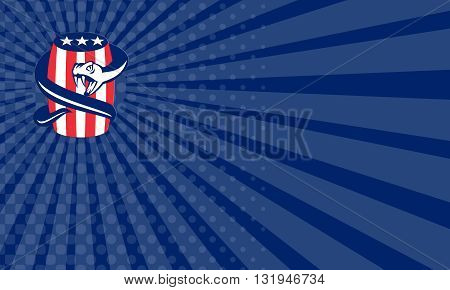Business card showing illustration of a viper snake coiling up on beer keg drum with stars and stripes USA American flag on isolated bakcground done in retro style.