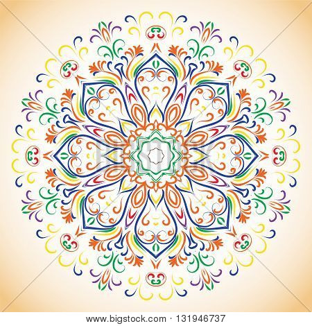 Colored Ornamental Ethnic Floral Pattern.