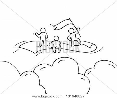 Sketch of working little people with flying dollar. Doodle cute miniature scene of workers. Hand drawn cartoon vector illustration for business design and infographic.