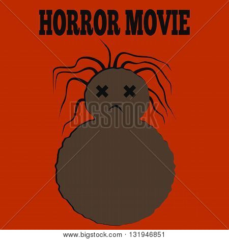 Template for a poster. Vile monster brown dead woman with disheveled hair and the inscription Horror Movie. Orange background.