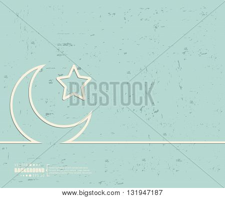 Creative vector Crescent Islamic. Art illustration template background. For presentation, layout, brochure, logo, page, print, banner, poster, booklet, business infographic, wallpaper, sign, flyer.