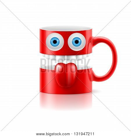 Red mug of two parts with teeth tongue and a couple of blue eyes.
