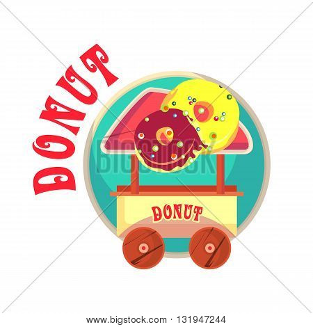vector illustration mascot mobile street food trolley with sweet pies donuts