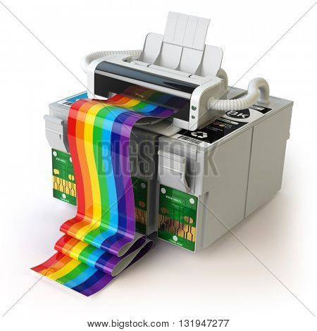 Printer and CMYK cartridges for colour inkjet printer isolated on white. 3d  illustration