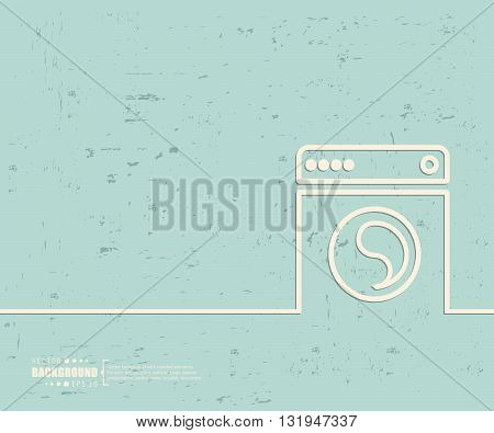 Creative vector washing machine. Art illustration template background. For presentation, layout, brochure, logo, page, print, banner, poster, cover, booklet, business infographic, wallpaper, sign, flyer.