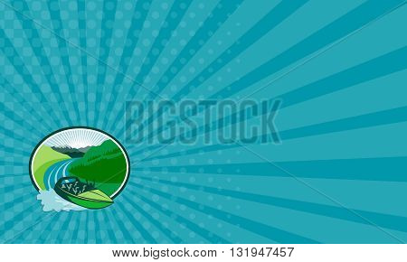 Business card showing illustration of a jetboat speeding on river with canyon and mountain in the background set inside oval shape done in retro style.