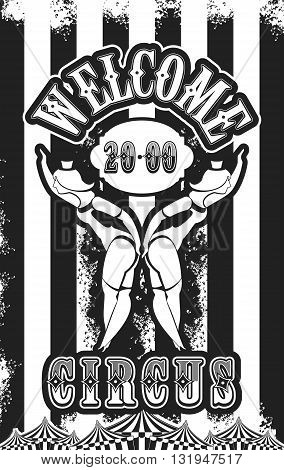 Vector illustration of vintage circus posters on striped background with space for text decorated with circus tents and two circus artistes dressed as a black-white