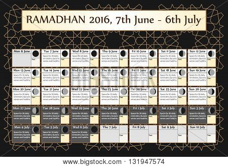 Ramadan calendar 2016. Includes: fasting calendar moon cycle-phases Ramadan quotes -hadith and Quran-. 30 days of Ramadan on black background with Islamic pattern. 3of3. 7 June. Vector illustration