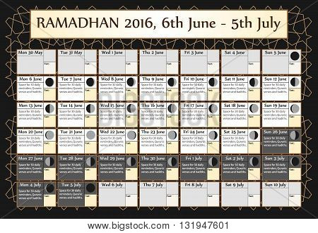 Ramadan calendar 2016. Includes: fasting calendar moon cycle-phases- Ramadan quotes -hadith and Quran-. 30 days of Ramadan on black background with Islamic pattern. 2of3. 6 June. Vector illustration