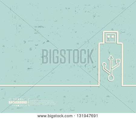 Creative vector Usb. Art illustration template background. For presentation, layout, brochure, logo, page, print, banner, poster, cover, booklet, business infographic, wallpaper, sign, flyer.