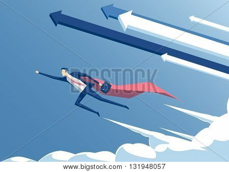 vector illustration businessman superhero or super employee flying in the sky with arrows and clouds business concept success and professionalism