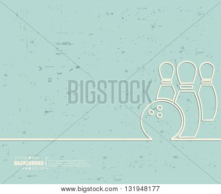 Creative vector bowling. Art illustration template background. For presentation, layout, brochure, logo, page, print, banner, poster, cover, booklet, business infographic, wallpaper, sign, flyer.