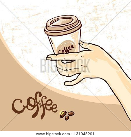 Beautiful hand drwan vector sketch illustration coffee for your design. Coffee doodle style.