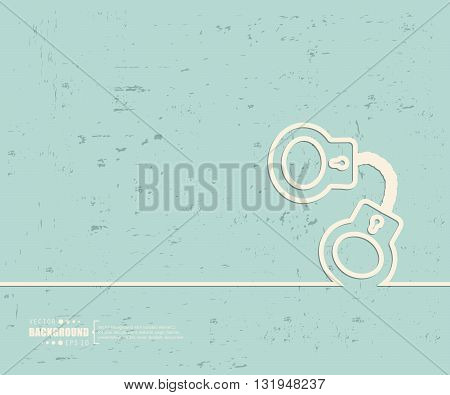 Creative vector handcuffs. Art illustration template background. For presentation, layout, brochure, logo, page, print, banner, poster, cover, booklet, business infographic, wallpaper, sign, flyer.