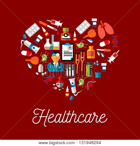 Healthy heart with healthcare symbols flat icon including doctor and monitoring results, medicine bottles with pills, drops and syrup, syringes and droppers, lungs and DNA, test tubes and laboratory flasks, enemas and crutches