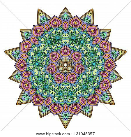 Mandala. Vintage decorative elements. Vivid colored ethnic ornament for your design. Islam Arabic Indian turkish pakistan chinese ottoman motifs