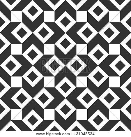 Monochrome geometric seamless pattern. Black and white background. Vector illustration