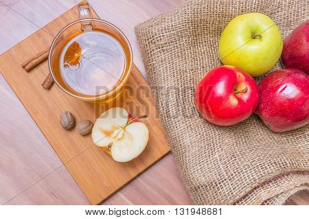 Cider - Alcohol Hot Apple Drink And Apples On Wooden Table. Top