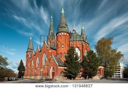 Unusual sky above Michael's church in Turku, Finland