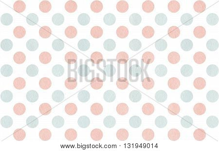 Watercolor Dots In Pink And Blue Color Isolated Over White.