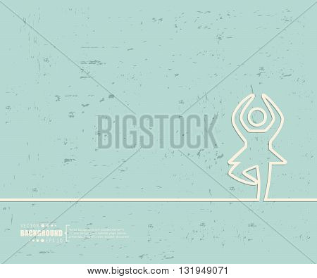 Creative vector dance girl. Art illustration template background. For presentation, layout, brochure, logo, page, print, banner, poster, cover, booklet, business infographic, wallpaper, sign, flyer.