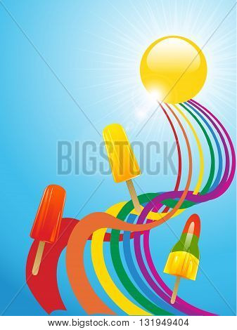 Ice Lollies Over a Twisted Rainbow and Sun with Lens Flares