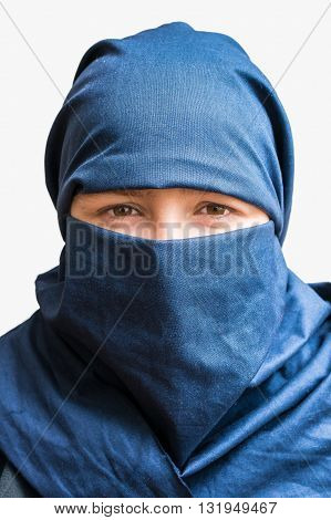 Head Of Young Woman Veiled With Blue Niqab Scarf. Isolated On Wh
