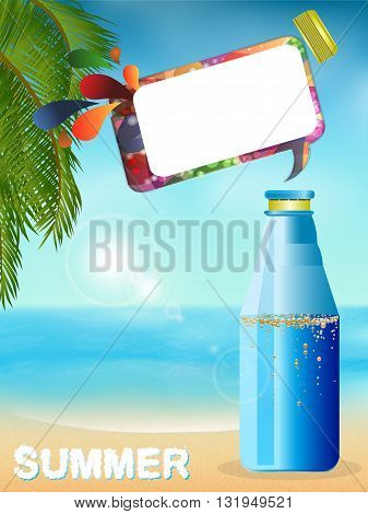 Blue Plastic Bottle with Sparkling Drink and Open Lid with Speech Bubble and Text