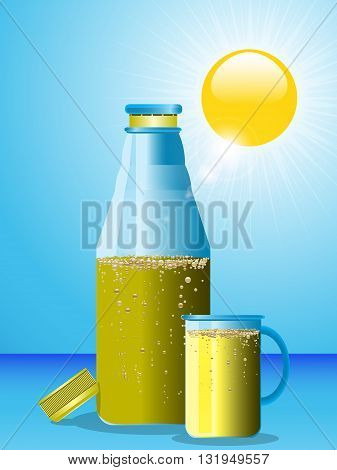 Blue Bottle and Glass with Sparkling Yellow Drink Over Blue Sky with Sun