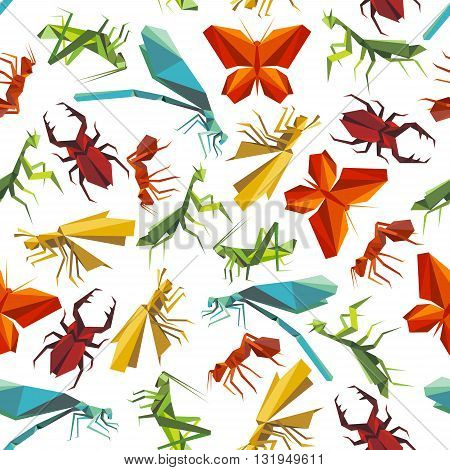 Seamless paper origami insects pattern background for nature theme design with colorful butterflies and ants, dragonflies, beetles and grasshoppers, mantises and locusts